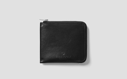 Zip Around Wallet in Black Calf Leather | Grenson - Main View