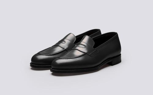 Grenson Aldgate in Black Calf Leather - 3 Quarter View