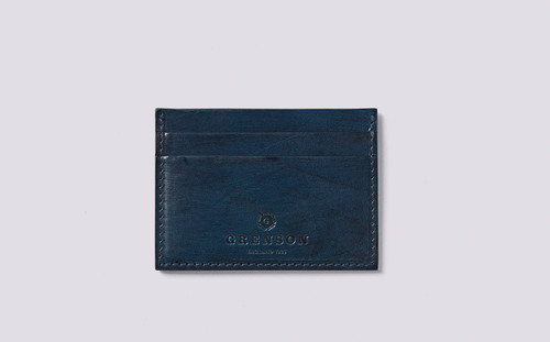 Card Holder in Midnight Handpainted Leather   Grenson - Main View