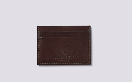 Card Holder in Dark Brown Handpainted Leather   Grenson Shoes - Main View
