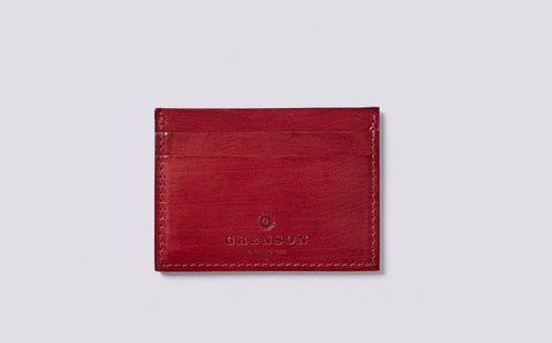 Card Holder in Red Handpainted Leather   Grenson - Main View