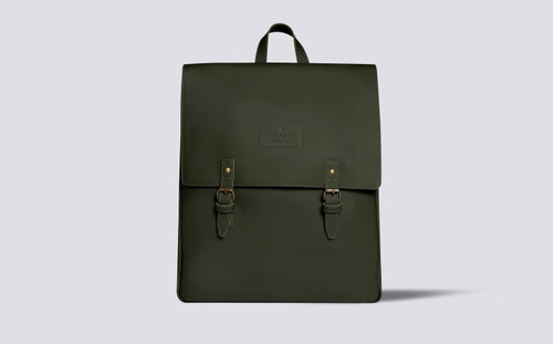 City Backpack | Khaki Green Rubberised Leather | Grenson - Main View