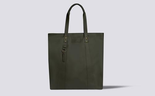 Tote Bag | Khaki Green Rubberised Leather | Grenson - Main View