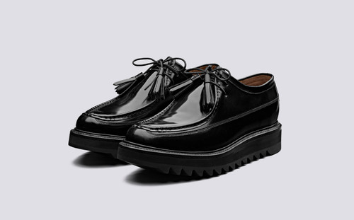 Benny | Mens Derby Shoes in Black Hi Shine Leather | Grenson Shoes - Main View