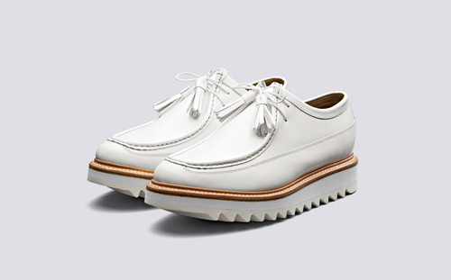 Benny | Mens Derby Shoes in White Hi Shine Leather | Grenson Shoes - Main View