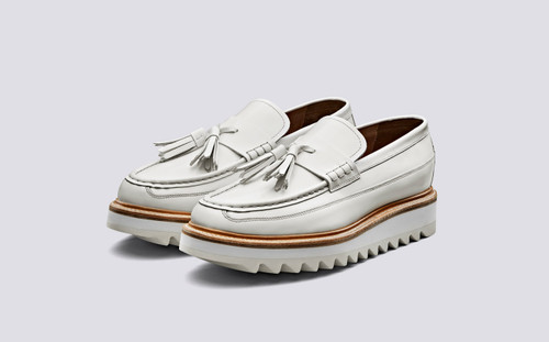 Brooklyn | Loafers for Men in White Hi Shine Leather | Grenson Shoe - Main View