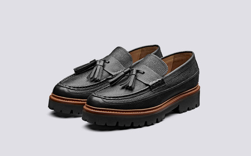 Booker | Loafers for Men in Black Grain Leather | Grenson Shoes - Main View