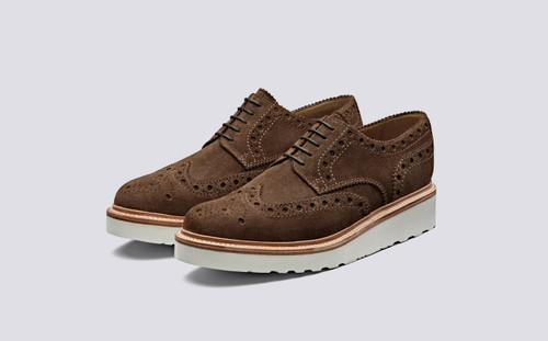 Archie | Mens Brogues in Cigar Suede on Vibram Sole | Grenson Shoes - Main View