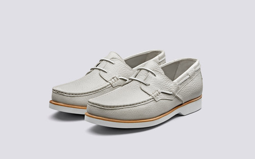 Lance | Boat Shoes in White Grain for Men | Grenson Shoes - Main View