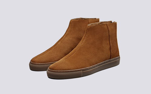 Sneaker 27 | Mens Sneakers in Rum with Shearling | Grenson Shoes - Main View
