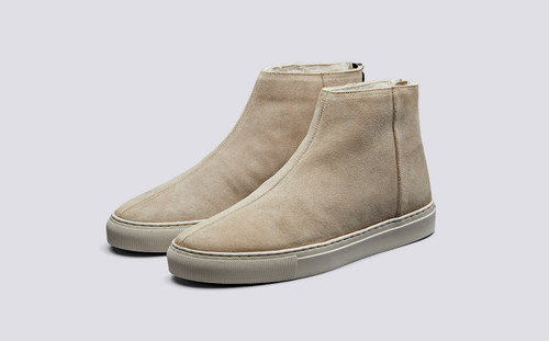 Sneaker 27 | Mens Sneakers in Stone with Shearling | Grenson Shoes - Main View