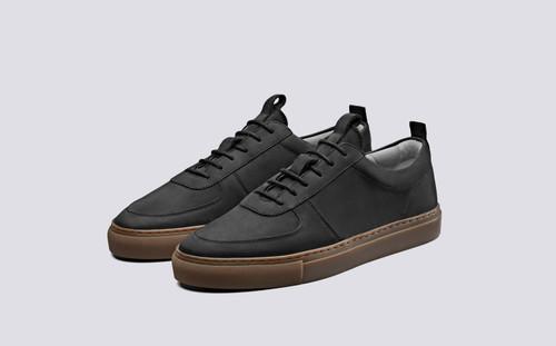 Sneaker 22 | Sneakers in Black Nubuck on Gum Sole | Grenson Shoes - Main View