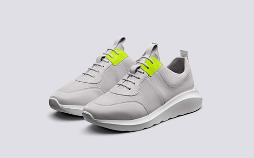 Sneaker 20 | Mens Sneakers in White with Yellow | Grenson Shoes - Main View