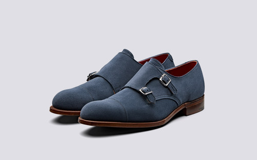 Hanbury | Mens Monk Strap Shoes in Navy Suede | Grenson Shoes - Main View