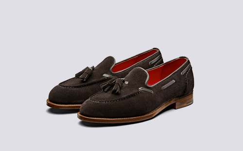 Leadenhall | Mens Loafers in Burnt Oak Suede | Grenson Shoes - Main View