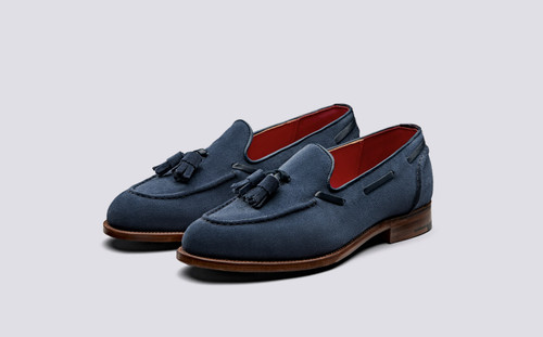 Leadenhall | Mens Loafers in Navy Suede | Grenson Shoes - Main View