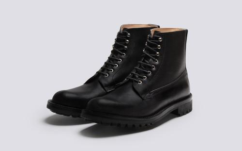 Grenson Vincent in Black Russia Grain Leather - 3 Quarter View