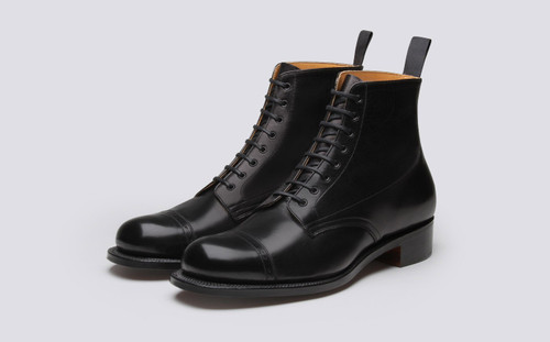 Grenson Shoe No.1 in Black Glace Kid Leather - Main View