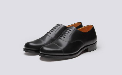Grenson Shoe No.2 in Black Calf Leather - 3 Quarter View