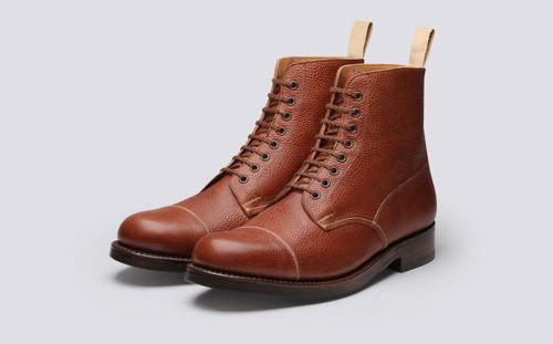 Grenson Shoe No.3 in Tan Grain Calf Leather - 3 Quarter View
