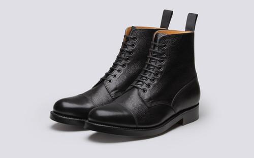 Grenson Shoe No.3 in Black Grain Calf Leather - 3 Quarter View