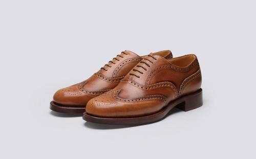 Grenson Shoe No.4 in Tan Grain Calf Leather - 3 Quarter View