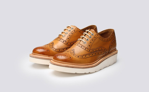 Emily   Womens Oxford Brogue in Tan Calf Leather with a White Wedge Sole   Grenson Shoes - Main View