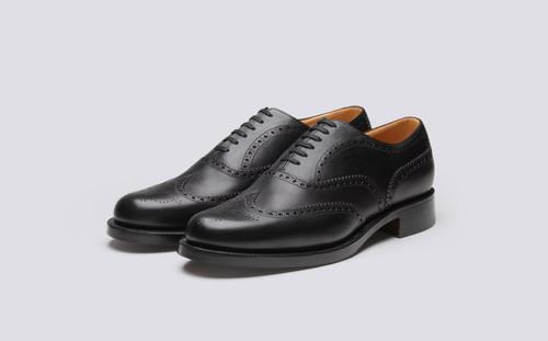Grenson Shoe No.4 in Black Grain Calf Leather - 3 Quarter View