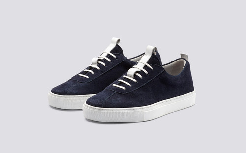 Sneaker 1   Womens Oxford Sneaker in Navy Suede with a White Rubber Sole   Grenson Shoes - Main View