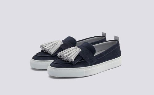 Sneaker 8   Womens Tassel Loafer Sneaker in Navy Suede on White Rubber Sole   Grenson Shoes - Main View