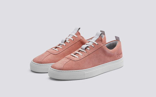 Sneaker 1 | Womens Oxford Tennis Sneaker in Seashell Suede on White Rubber Sole | Grenson Shoes - Main View