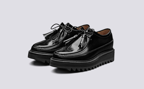 Beryl | Womens Derby Shoes in Black Hi Shine Leather | Grenson Shoes - Main View