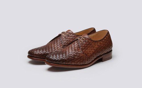 Grenson Shoe No.7 in Brown Woven Calf Leather - 3 Quarter View