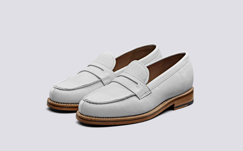 Philippa | Womens Loafers in White Softie Leather | Grenson Shoes - Main View