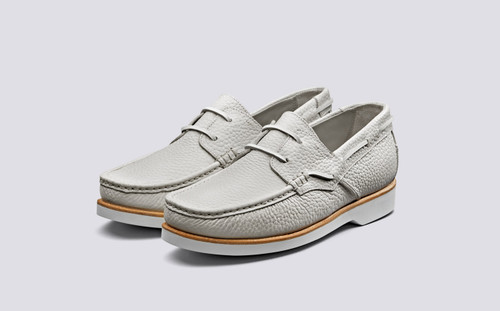 Lizzie | Boat Shoes for Women in White Grain | Grenson Shoes - Main View