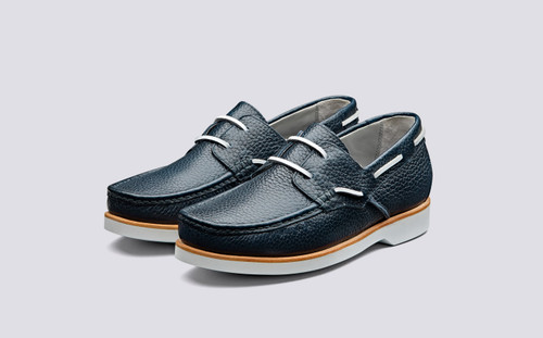 Lizzie | Boat Shoes for Women in Navy Grain | Grenson Shoes - Main View