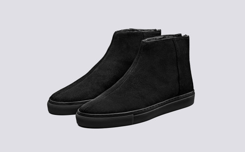 Sneaker 27 | Women's Sneakers in Black Suede | Grenson Shoes - Main View