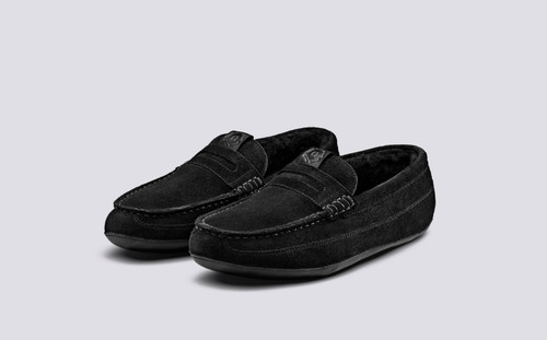 >Slone | Women's Slippers in Black Suede | Grenson Shoes - Main View