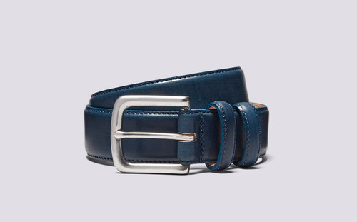 Casual Belt | Midnight Hand Painted Leather Belt | Grenson Shoe - Full View