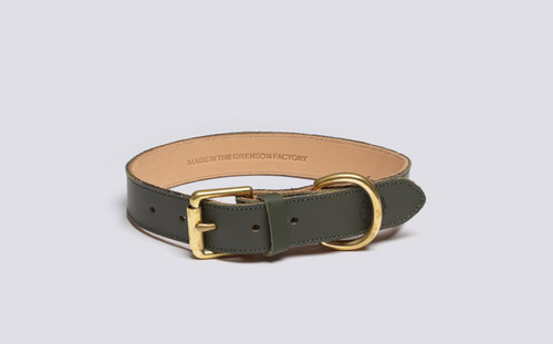 Medium Dog Collar | Handmade Green Rubberised Leather | Grenson - Main View