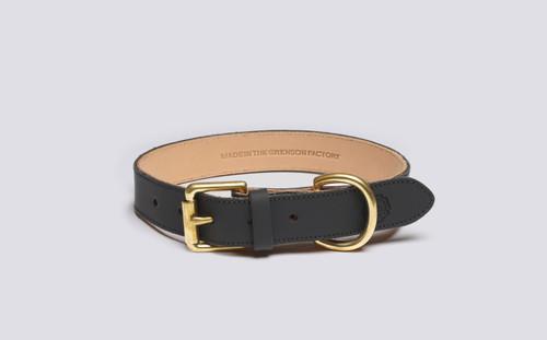 Medium Dog Collar | Handmade Black Rubberised Leather | Grenson - Main View