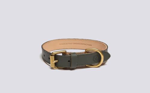 Small Dog Collar | Handmade Green Rubberised Leather | Grenson - Main View