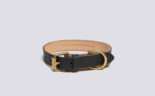 Small Dog Collar | Handmade Black Rubberised Leather | Grenson - Main View