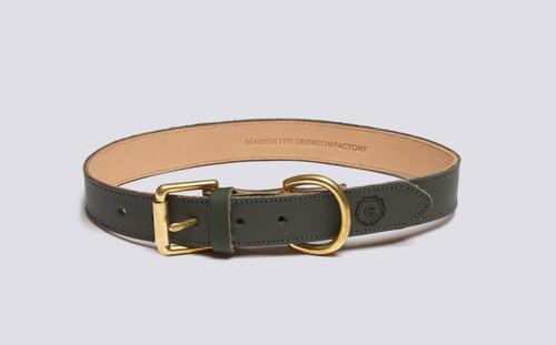 Large Dog Collar | Handmade Green Rubberised Leather | Grenson - Main View
