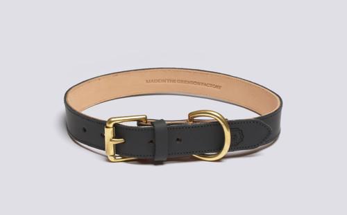 Large Dog Collar | Handmade Black Rubberised Leather | Grenson - Main View