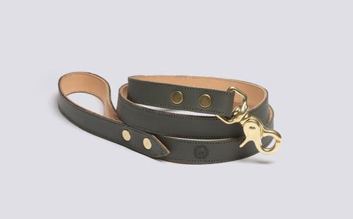 Dog Lead | Handmade Green Rubberised Leather | Grenson - Main View