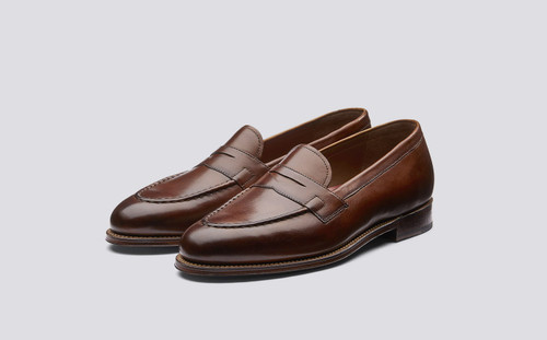 Grenson Lloyd in Tan Hand Painted Calf Leather - 3 Quarter View