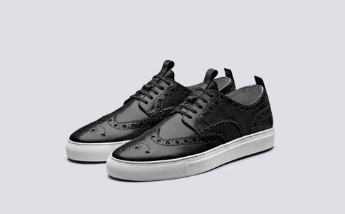 Sneaker 3 | Mens Brogue Sneaker in Black Calf Leather | Grenson - Main View