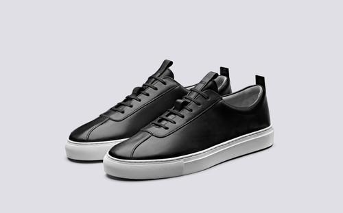 Grenson Sneaker 1 Men's in Black Calf Leather - 3 Quarter View