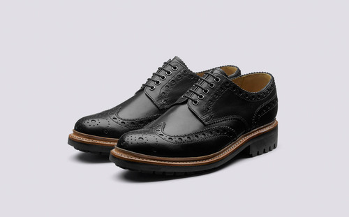 Grenson Archie in Black Calf Leather - 3 Quarter View